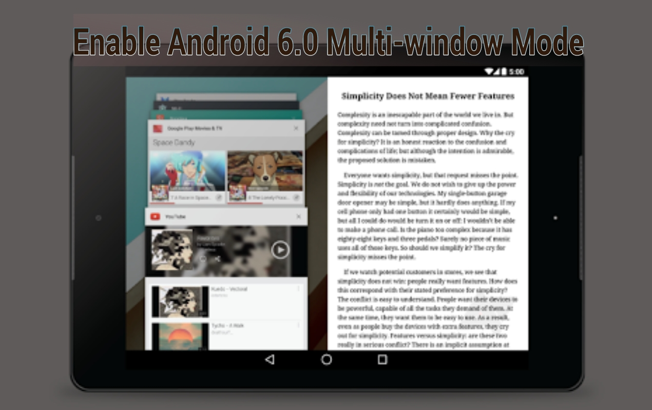 Android 6.0 Multi window mode