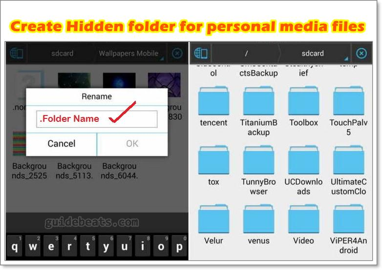 Create Hidden folder for personal media files