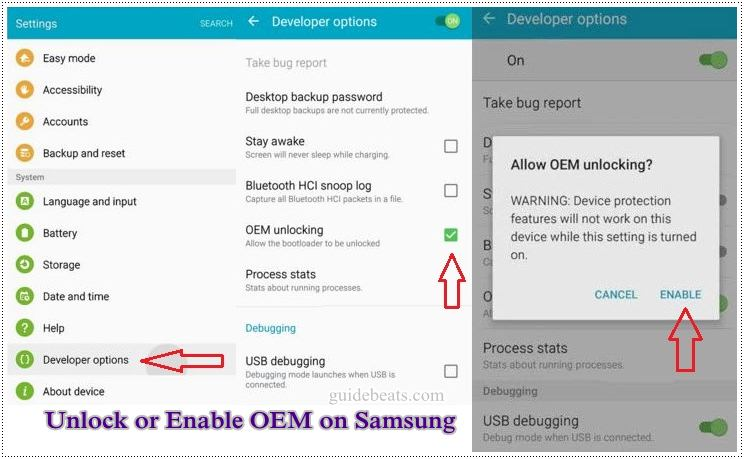 Unlock or Enable OEM on any Samsung device running Android 5.0 Lollipop