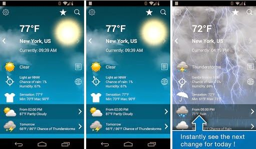 Top Weather Forecast Apps for Android smartphones and tablets