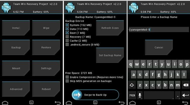 Nandroid backup via TWRP Recovery