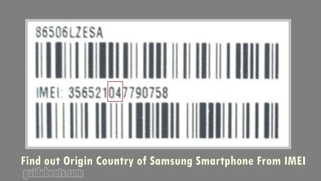 Find Origin Country of Samsung Smartphone