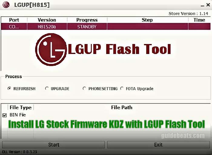 Install LG Stock Firmware KDZ with LGUP Flash Tool